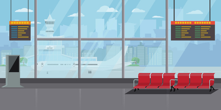Airport Interior Waiting Hall Departure Lounge Modern Terminal Concept.