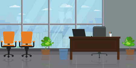 Empty modern wide office interior with large window and cityscape view.