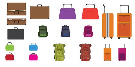 Juego de bolsas. Bolso de viaje moderno y de moda, mochila, bolso de mujer y otros bolsos con estilo de diseño plano. Ilustración vectorial.