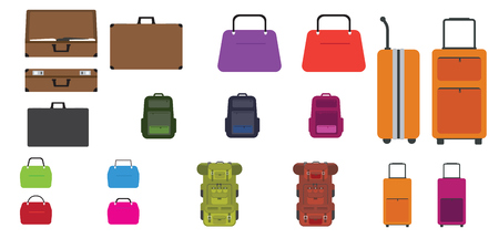 Set of bags. Modern and trendy Travel bag, rucksack, woman bag and other bags with Flat design style. Vector illustration.