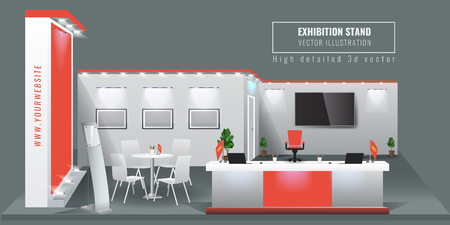 Grand Exhibition stand display mock up. Vector illustration. Vector Illustration