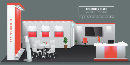 Grand Exhibition Stand-Display-Mock-up. Vektor-Illustration.