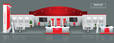 Grand Exhibition Stand-Display-Mock-up. Vektor-Illustration. Vektorgrafik