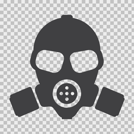 Gas mask with flat and solid color style.