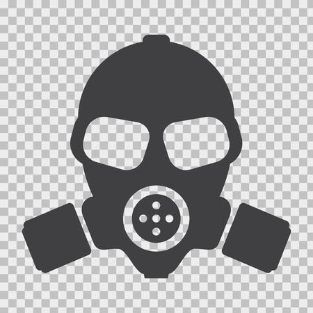 Gasmaske mit flachem und einfarbigem Stil.