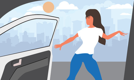 Trendy Viral dance challenge while car moving and door is opened.