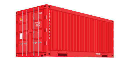 Red Shipping Cargo Container for Logistics and Transportation. Flat and solid color Vector Illustration Illustration