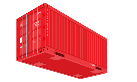Red Shipping Cargo Container for Logistics and Transportation. Perspective and bottom view. Flat and solid color Vector Illustration