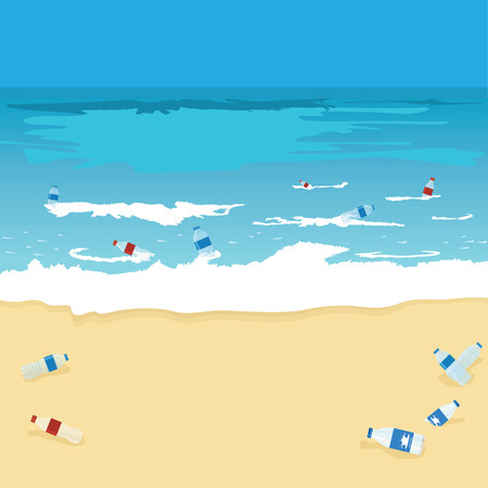 Plastic bottle pollution of ocean, sea or beach. Bottles, plastic bags and debris on the seabed and seashore. Water environment protection eco concept. Vector Illustration.