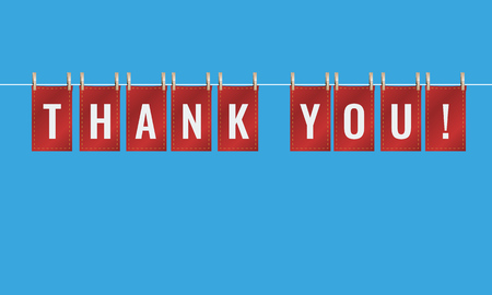 Thank you letters pinned to string or wire with pegs. Vector Illustration.