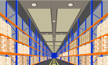 Warehouse Interior with Boxes On Rack perspective front viewpoint. Flat and solid color style Logistic Delivery Service Concept. Vector Illustration.
