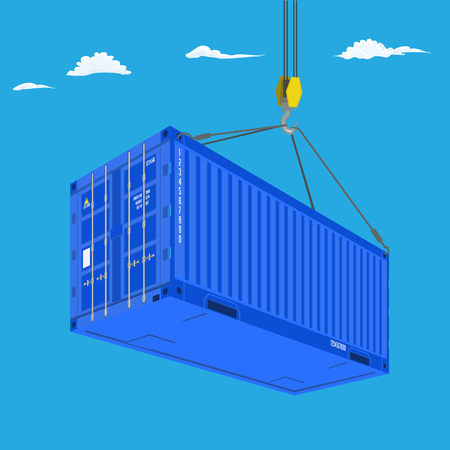 Port crane lifts blue container. Perspective view from bottom. Logistics concept flat color vector illustration. Illustration