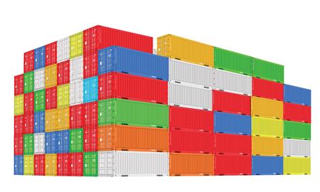 Pile de conteneurs de fret colorés avec vue en perspective. Couleurs différentes. Illustration vectorielle détaillée élevée.