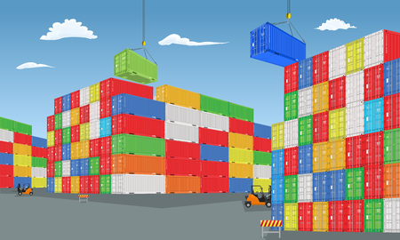 Stack of colorful cargo containers with perspective view. Different colors. High detailed vector illustration.