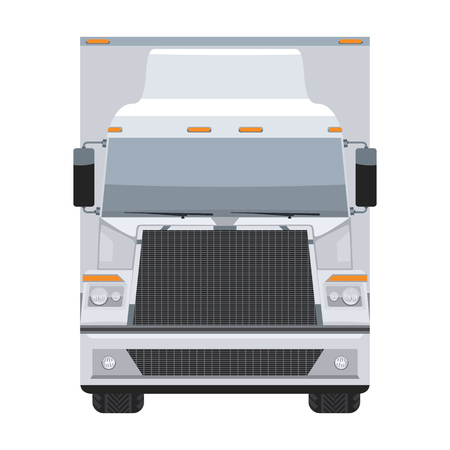 Long vehicle trailer truck with flat and solid color design front view.