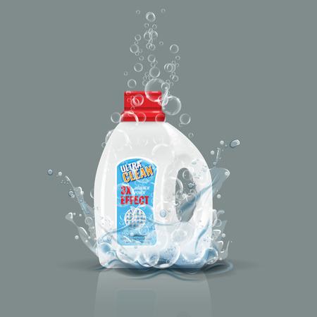 Blue laundry detergent bottle mock up with water splash. High detailed vector illustration. 向量圖像