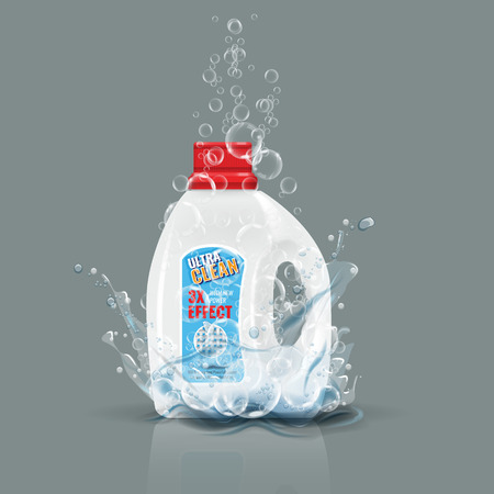 Blue laundry detergent bottle mock up with water splash. High detailed vector illustration. Illustration