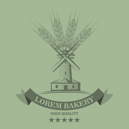 Farm or bakery logo or label with sketch line style mill and wheat. Vector illustration Illustration