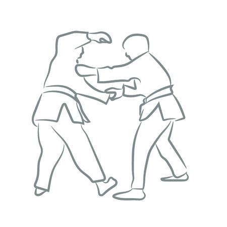 Judo symbol or logo silhouette with line art style. Sketch design vector illustration. Logo