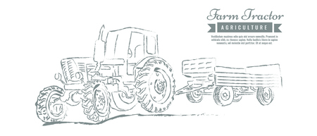 Farm tractor with sketch style line art design. Hand drawn vector illustration.