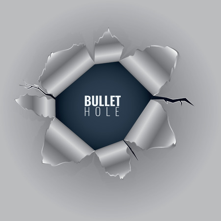 Bullet hole in hard metal material with ripped steel edges. Vector illustration isolated on transparent background. Vettoriali