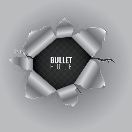 Bullet hole in hard metal material with ripped steel edges. High detailed Vector illustration isolated on transparent background.