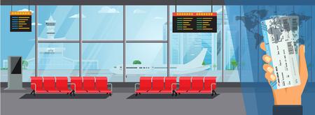 Sala de espera interior del aeropuerto Sala de embarque Concepto moderno de la terminal. Ilustración de vector de color plano detallado alto
