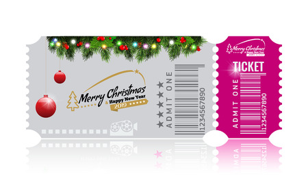 Christmas or New Year party ticket card design template. High detailed Vector Illustraton. White and pink color.