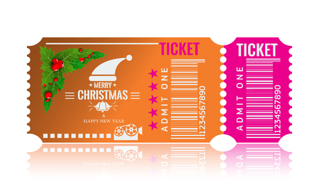 Christmas or New Year party ticket card design template. Vector Illustraton. Orange and pink color. Stock Photo