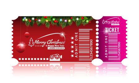 Christmas or New Year party ticket card design template. Vector Illustraton. Red and pink color.