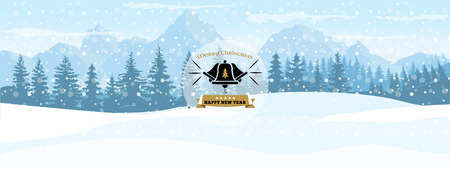 Horizontal Winter Landscape. Happy New year symbol or label with landscape background. Flat and solid color vector Illustration. Иллюстрация