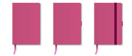 Pink realistic hard cover notebook with red bookmark and ribbon. High detailed vector illustration. Illustration