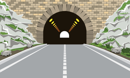 Tunnel and highway with flat and cartoon style. Solid style pathway and high detailed vector illustration.