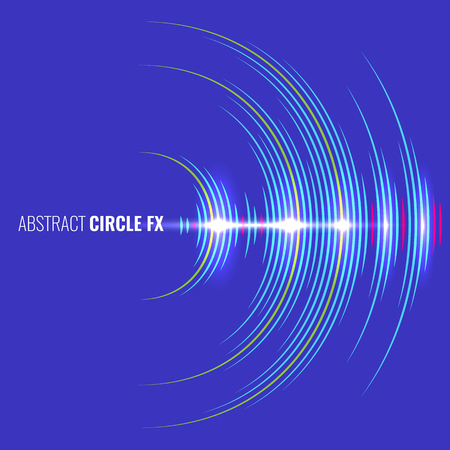 Audio album cover with abstract music waveform. Blue background and light effect. Vector Illustration.