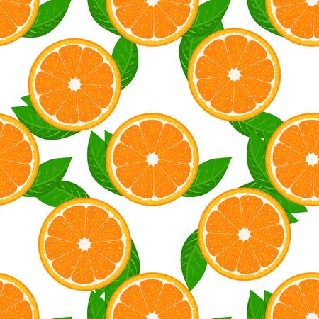 Orange fruit seamless with leaf. High detailed sliced oranges. Flat and solid color Vector Illustration. Vettoriali