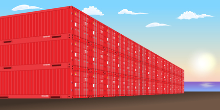 Stacked freight containers at a sea port dock. High detailed Vector illustration. Illustration