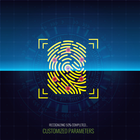 Finger-print Scanning Identification and recognizing System in process. Biometric Authorization Concept. Vector illustration.