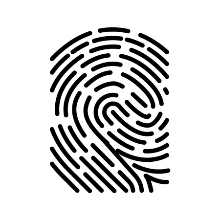 Icona del concetto biometrico di scansione delle impronte digitali. Illustrazione vettoriale di stile minimalista.