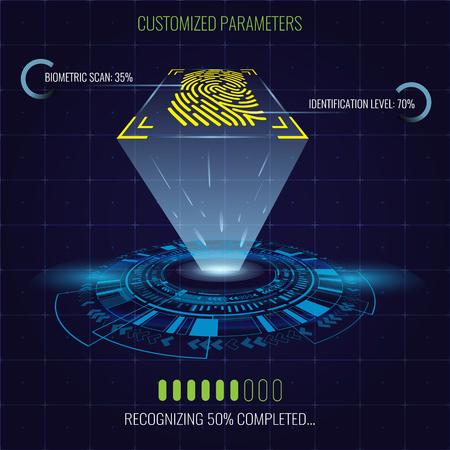 Digital fingerprint identification system with lighting and circle hud element. Futuristic concept vector illustration.