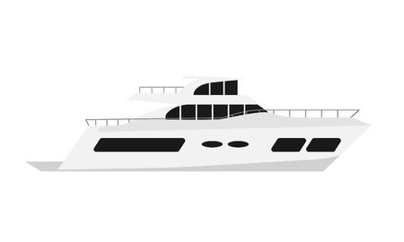 Luxury summer yacht. Flat color style vector illustration. Illustration