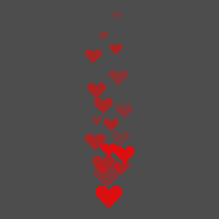 Red Like hearts flying upstairs during live stream on social media. Transparent hearts. Vector illustration.