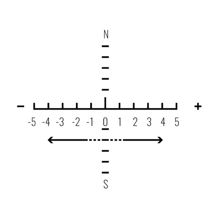 Optical sight with coordinate lines and numbers. Sniper lens view symbol. Vector illustration.