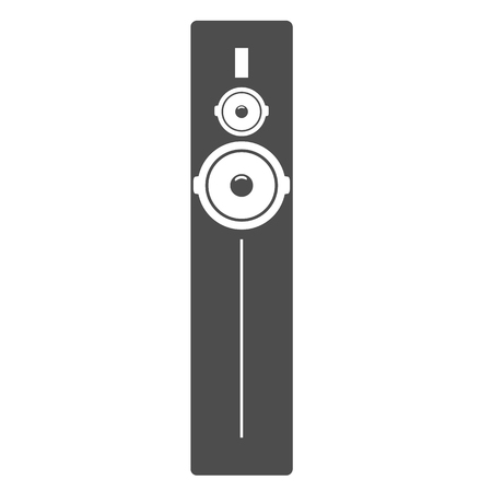 Black tall acoustic sound system or loudspeaker icon. High detailed vector illustration.