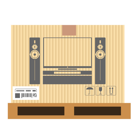 Mock up of tv set in carton box. Moving and delivery services. Vector illustration