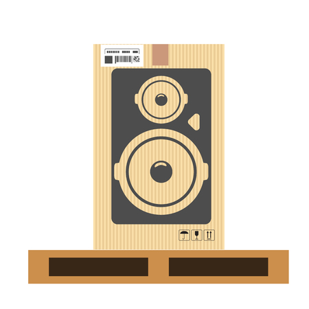 Mock up of speaker in carton box. Moving and delivery services. High detailed vector illustration