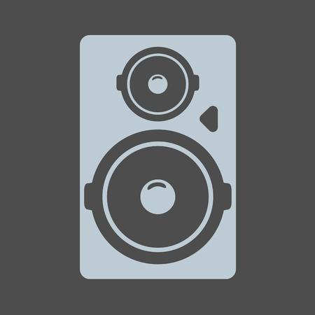 Schwarzes großes akustisches Soundsystem oder Lautsprechersymbol. Vektor-Illustration.