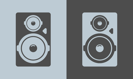 Black tall acoustic sound system or loudspeaker icon. Vector illustration. Ilustração