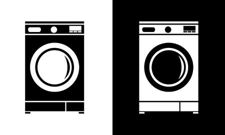 Icône de machine à laver à plat. Illustration vectorielle de style minimaliste. Vecteurs