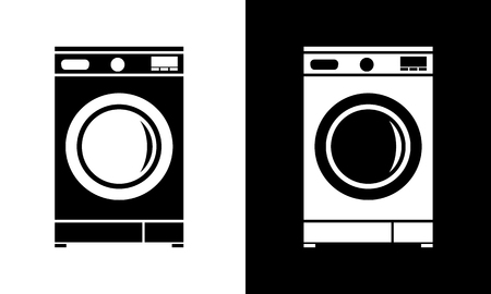 Icona della lavatrice piatta. Illustrazione vettoriale di stile minimalista. Vettoriali