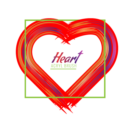 Hand-drawn painted heart or acrylic brush heart frame. High detailed vector illustration.